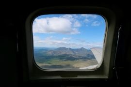 The view from the tiny and terrifying plane to Wiseman